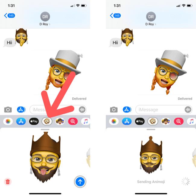 Send Animated Custom Memoji Sticker on from iPhone