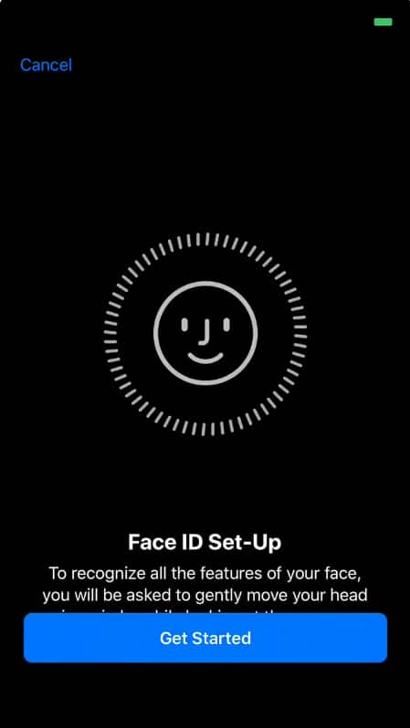 Tap on Get started to Face ID set up iPhone X