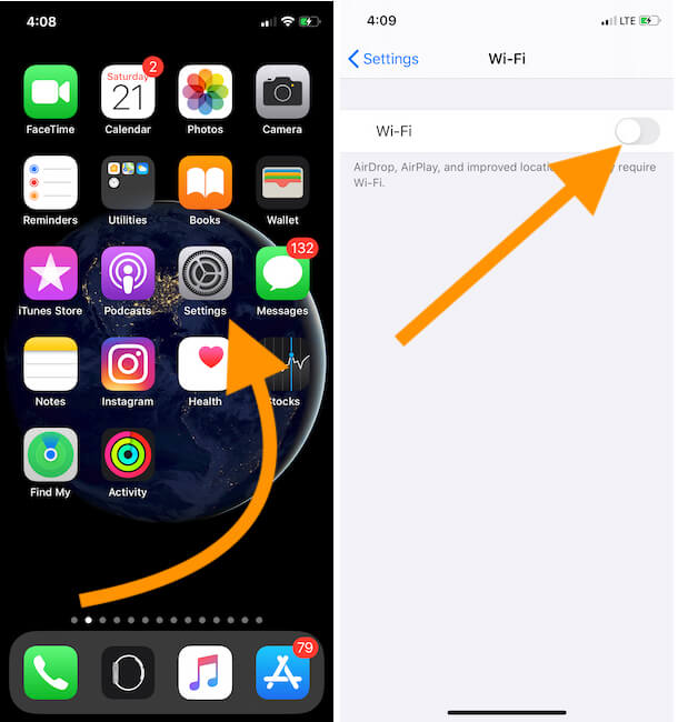 Turn off WiFi on iPhone for Personal Hotspot-2