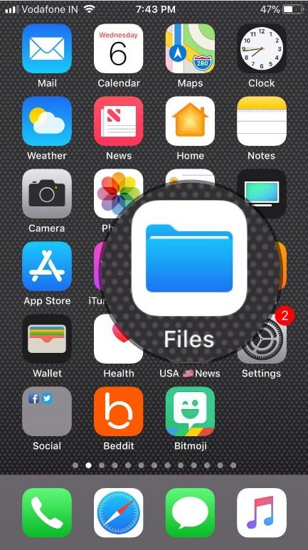 open the Files App on your iPhone or iPad