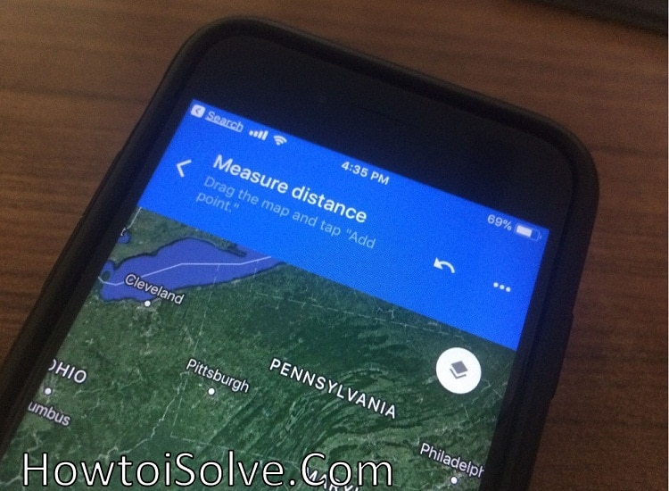 How to measure Distance between two points on Google maps iPhone