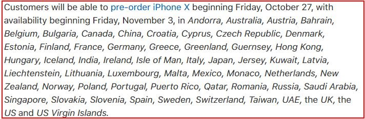 1 iPhone X Pre Order Country List