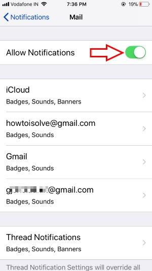 10 Enable Mail Notification and Customize for individual Mail account on iPhone