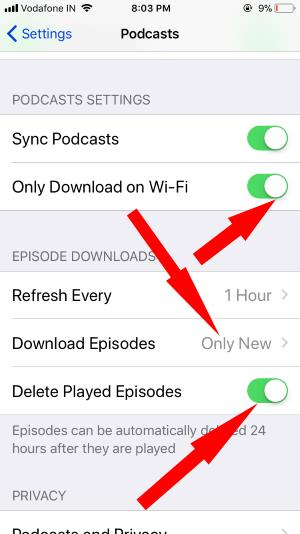 11 iPhone Podcasts Settings in iOS 11