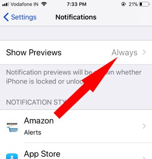 4 Notifications Preview settings on iPohne