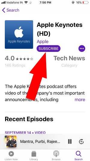 4 Subscribe podcast on iPhone