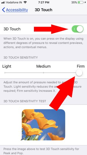 5 3D Touch Settings on iPhone