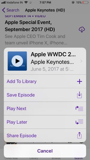 7 Add Episodes in podcast playlist on iPhone