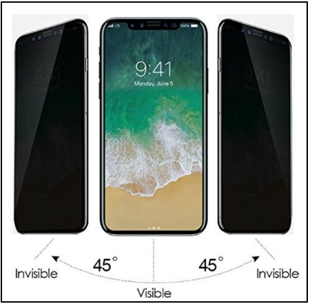 G-Color Privacy Anti-Spy Anti-Peep Scratch Proof iPhone X Tempered Glass Screen