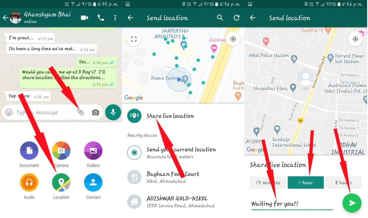 How to Share Live Location on WhatsApp Android