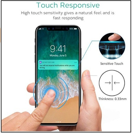MOZEEDA Curved Anti Privacy Screen Tempered Glass Protector for iPhone X