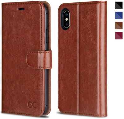 OCASE– Thin Kickstand Cover for iPhone X Slim Wallet Case