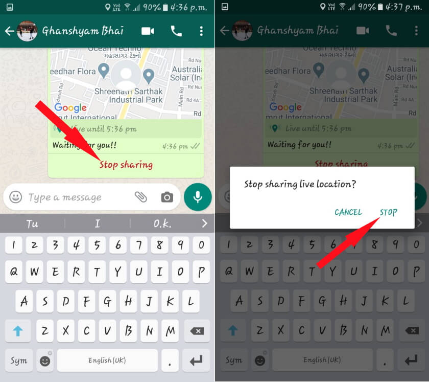 Stop Sharing Live Location on WhatsApp Android