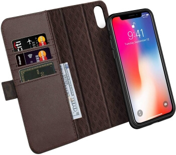 ZOVER Detachable Genuine Leather Wallet Case