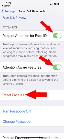 1 Face ID settings on iPhone X
