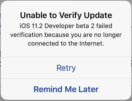 Unable to Verify Update iOS 11