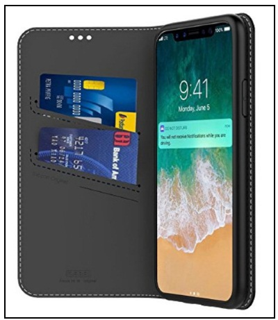 Amabin iPhone X Folio Cases Slim Flip Folio Wallet Protective Case