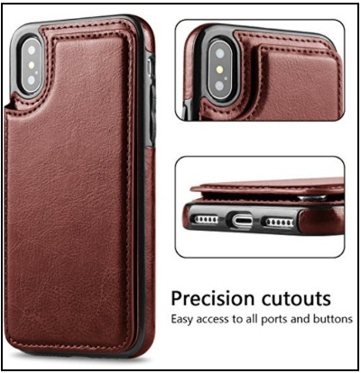 Hoofur Slim Fit Premium Leather iPhone X Wallet Case Card Slots Shockproof