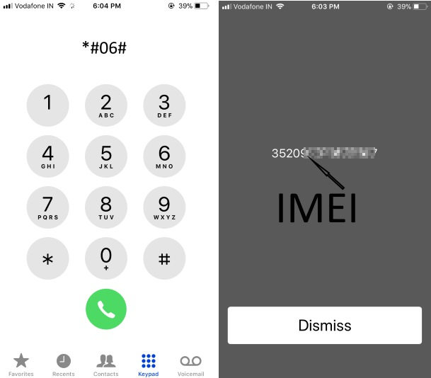 IMEI Number on iPhone X