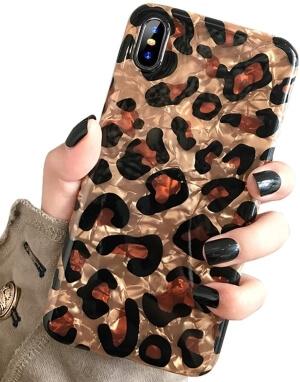 J.west Luxury Sparkle Bling Translucent Leopard Print