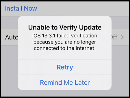 fix Unable to Verify Update iOS 13.3.1