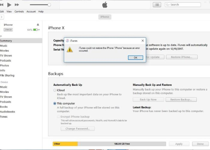 1 iPhone could not Restore from Backup in iTunes