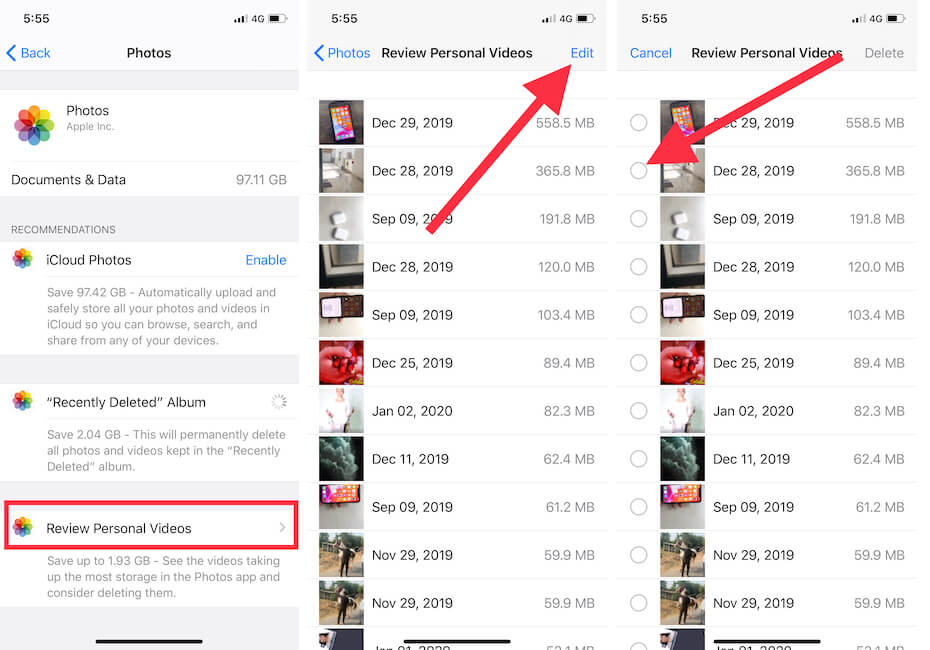 Delete Personal Video that unused from iPhone