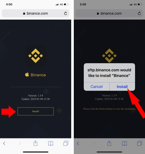 1 install Binance app on iPhone from browser