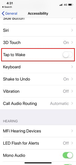 2 Disable Tap to Wake Up on iPhone X