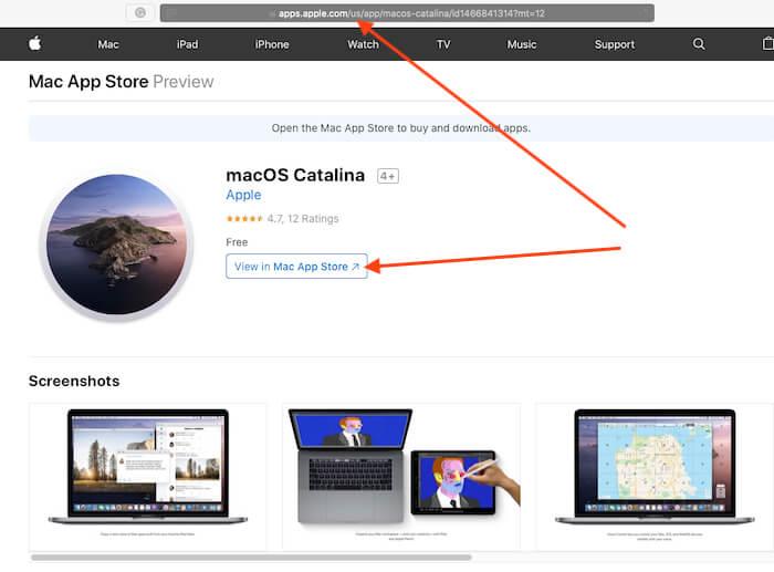 Open MacOS Catalina app store link on safari