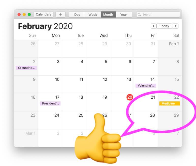 iCloud Calendar Synced on MacBook Mac