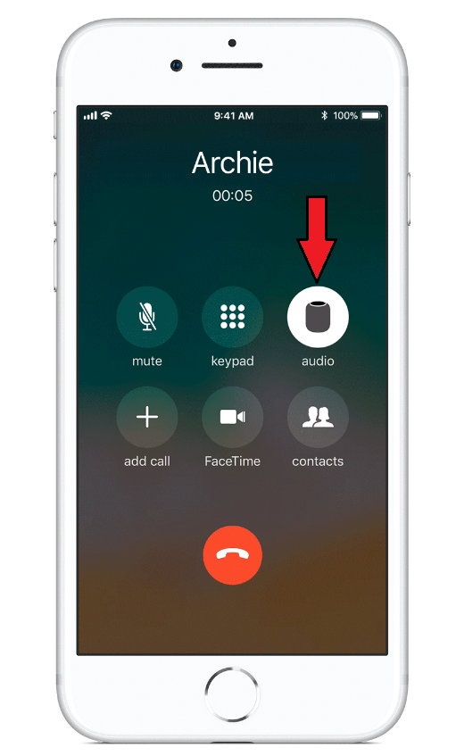 Tap audio to switch a call from HomePod to iPhone