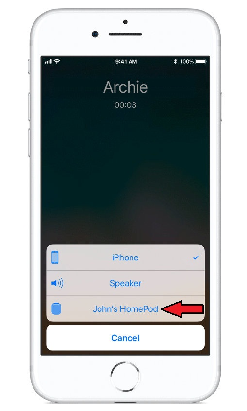Tap HomePod to use HomePod as a speakerphone