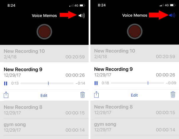2 Voice Memo play on Speaker phone