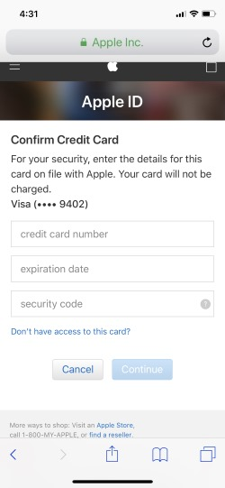 4 Use Card for sucurity and Verify Apple ID