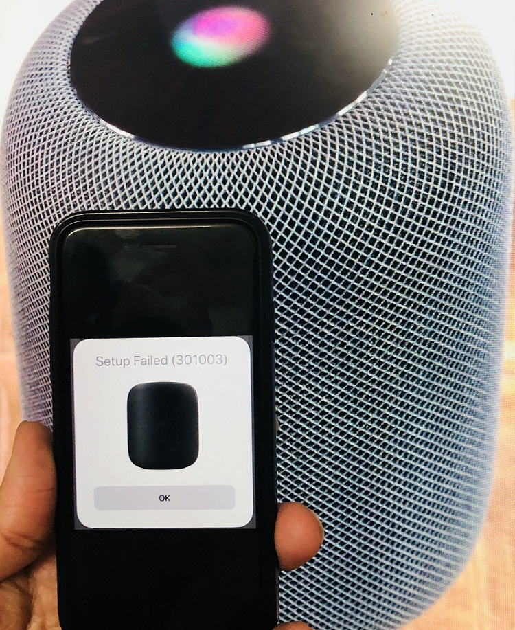 Fix HomePod Setup failed 301003
