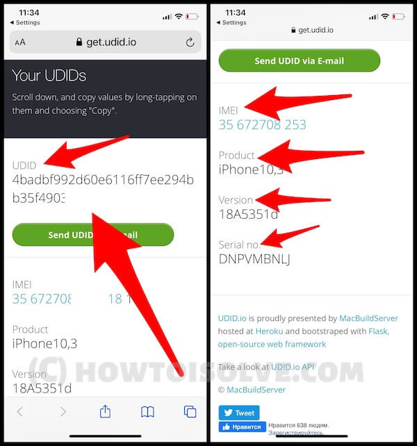 See Your iPhone UDID number, Serial number without iTunes or Mac or PC