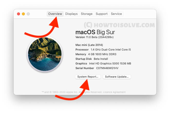 System Reports for Macbook mac
