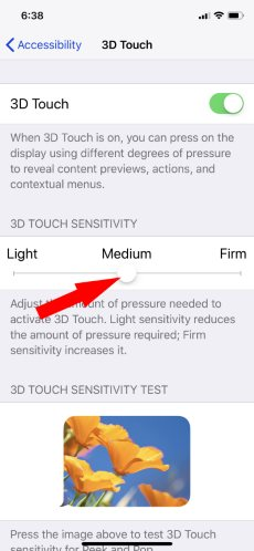 1 Change 3D Touch Sensitivity on iPhone X