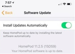 1 Softwae Update for HomePod