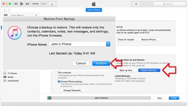 3 Восстановите резервную копию на iPhone X с помощью iTunes
