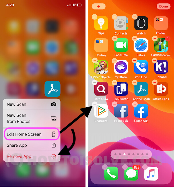 Edit Home screen and Jiggle all apps icon or Delete app from iPhone home screen