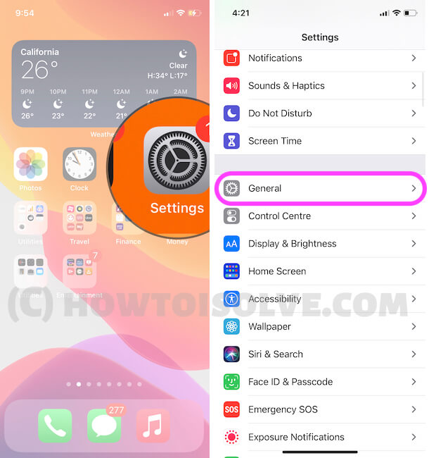 General Option in iPhone Settings
