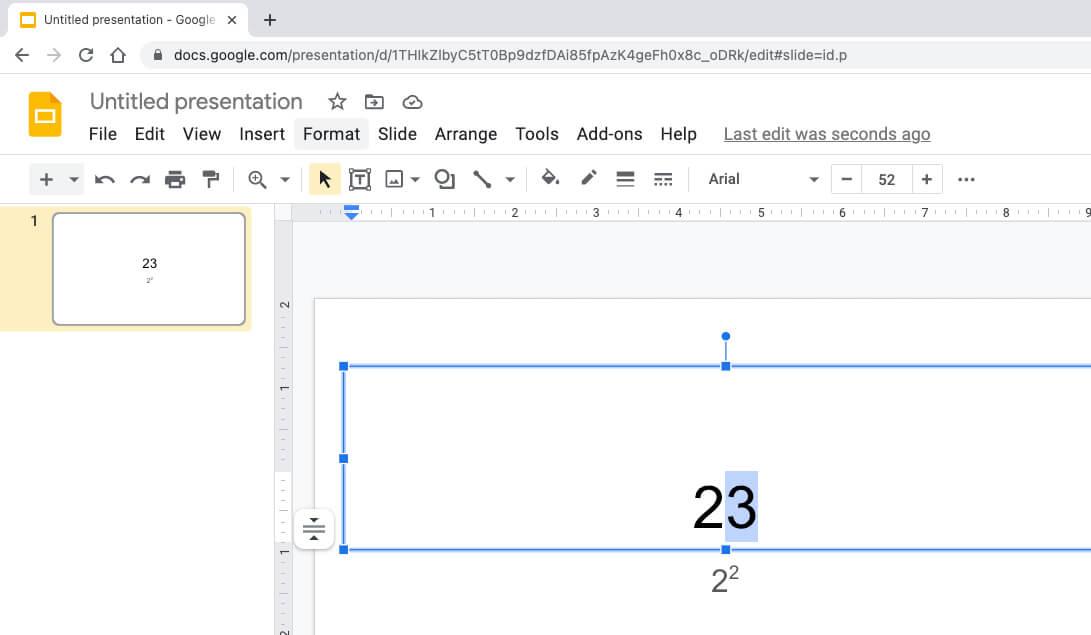 Как вводить экспоненты в Google Slides для Mac
