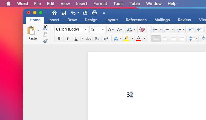 Выберите число, которое вы конвертируете в экспоненты в Mac Word