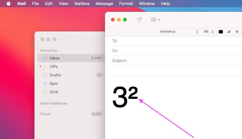 Квадратный символ на Mac в почтовом приложении с помощью ярлыка