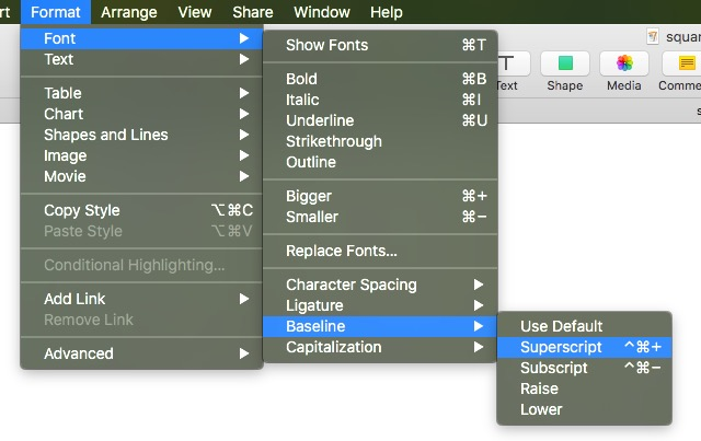Superscript option on Mac