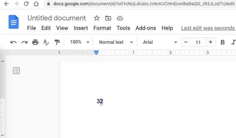 Введите экспоненты в Документах Google для Mac
