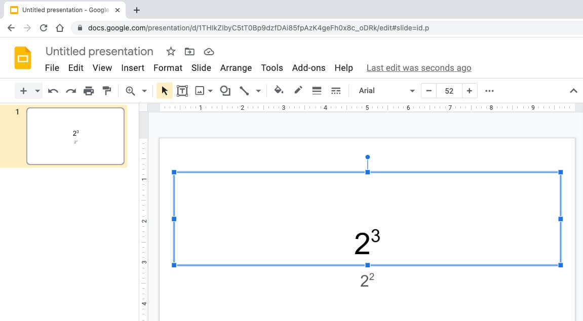 Введите экспоненты или квадрат в Google Slides для Mac