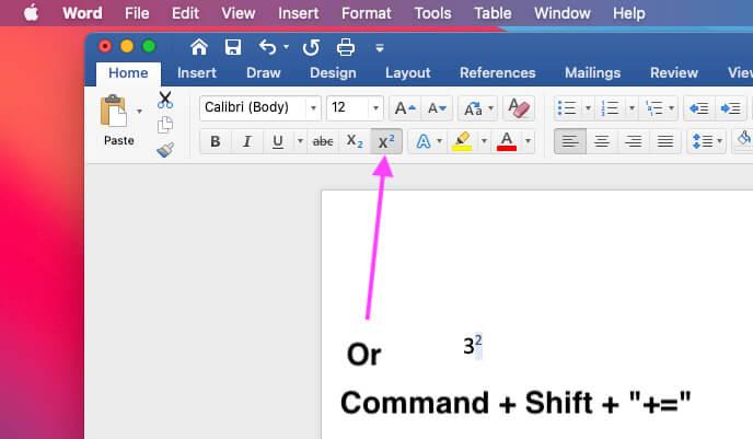 Введите экспоненты или квадрат в слове Mac
